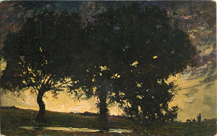 two large trees, figure at right