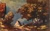trees, two cottages, figure beneath trees