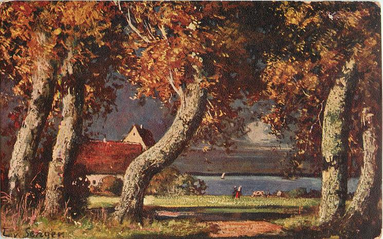 five trees, mainly trunks, lake and cottage, figure and animal near water