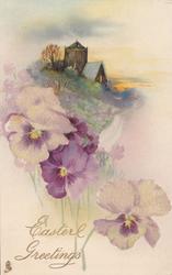 purple/white pansies below, church & golden tree on green hill
