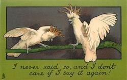I NEVER SAID SO, AND I DON'T CARE IF I SAY IT AGAIN!  two white cockatoos