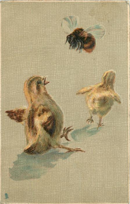 two chicks, one is falling because he is scared of a bee
