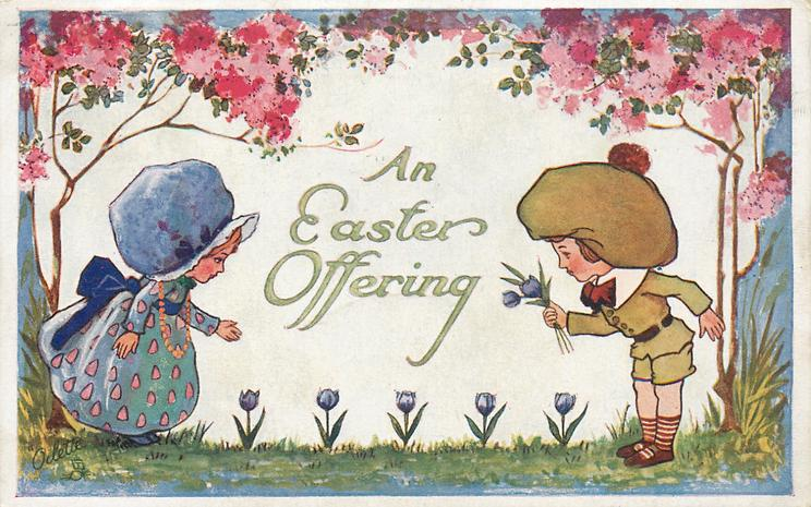 AN EASTER OFFERING  sun-bonnetted children, boy offers girl blue tulips, blossom above