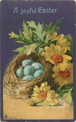 A JOYFUL EASTER  nest with six eggs left, daisies right