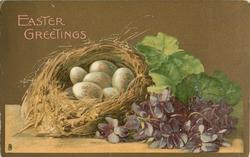 EASTER GREETINGS  nest with six eggs left, violets right