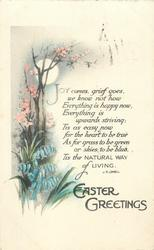 EASTER GREETINGS  moonlight, bluebells, blossom