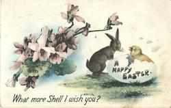 A HAPPY EASTER  rabbit observes chick hatching, blossom above left