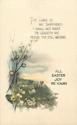 ALL EASTER JOYS BE YOURS  sheep, flowers