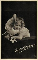 EASTER GREETINGS  girl facing left, looking front, head erect, with dove  under chin & lily
