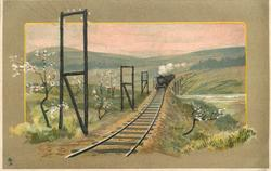 train crossing bridge, double telegraph poles to left