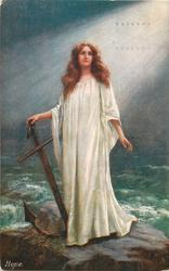 HOPE  girl stands holding anchor
