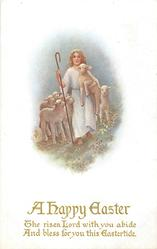 A HAPPY EASTER (or w/o greeting)  Jesus as shepherd, lambs