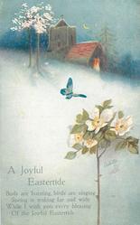 A JOYFUL EASTERTIDE  rose, snow, church, butterfly, blossom