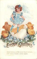 EASTER GREETINGS  girl standing in huge egg-shell, four chicks