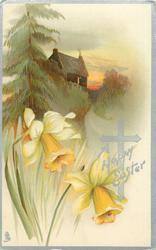 A HAPPY EASTER  cottage, tree, daffodils front left