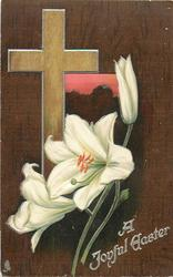 A JOYFUL EASTER  light brown cross, pink window, Easter lilies, dark brown background