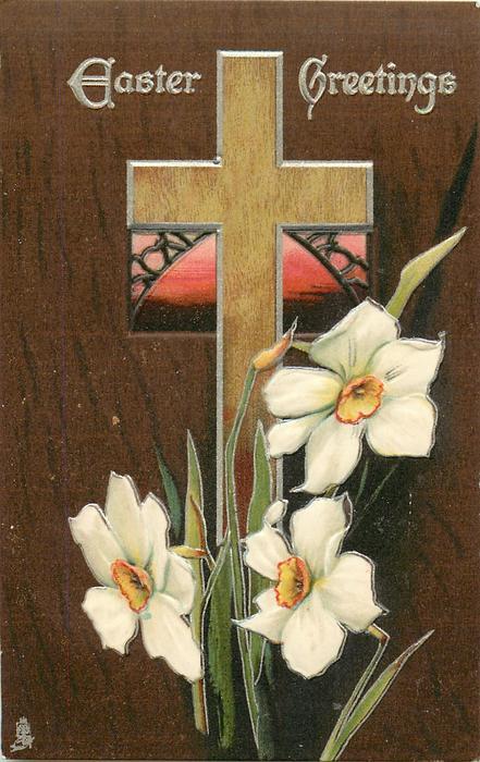 EASTER GREETINGS  light brown cross, pink window, narcissi, dark brown background