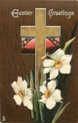 EASTER GREETINGS  light brown cross, pink window, narcissi, dark brown background