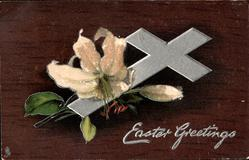 EASTER GREETINGS  silver cross, Easter lilies, dark brown background