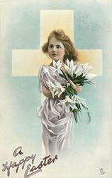 A HAPPY EASTER  girl in purple dress, carrying lilies, in front of white cross
