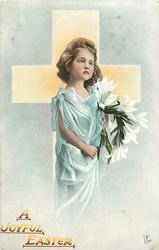 A JOYFUL EASTER  girl in blue-green dress, carrying lilies, in front of yellow cross