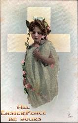 ALL EASTER PEACE BE YOURS  garlanded girl in green dress in front of white cross