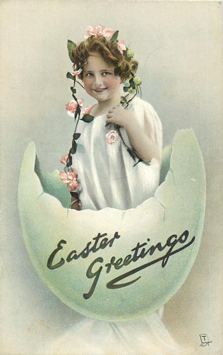 EASTER GREETINGS  garlanded girl in white dress stands in fantastic egg-shell