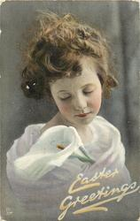 EASTER GREETINGS  young girl facing slightly left, looks front & down, eyes closed