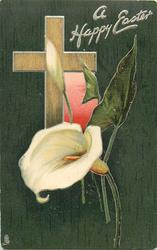 A HAPPY EASTER  light brown cross, pink window, calla lilies, dark green background