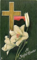 A JOYFUL EASTER  light brown cross, pink window, Easter lilies, dark green background