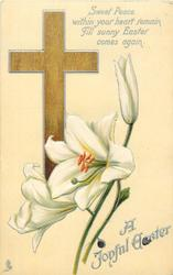 A JOYFUL EASTER  brown cross, Easter lilies
