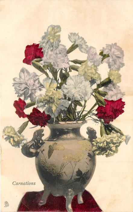 CARNATIONS  in a decorated pot standing on three legs