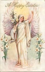 A HAPPY EASTER  standing angel, one arm raised, lilies