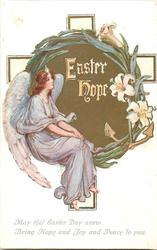 EASTER HOPE  seated angel, gilt circle, lilies