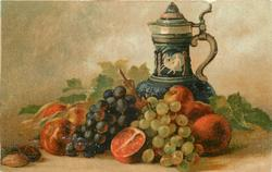 oranges, peaches, grapes & nuts in front of lidded blue tankard