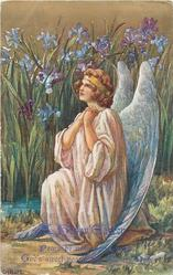 A HAPPY EASTER with verse, sitting angel prays, iris behind