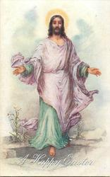 THE ASCENSION  Jesus walks forward, purple & green robes