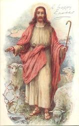 THE GOOD SHEPHERD  Jesus stands among sheep, pink & cream robes