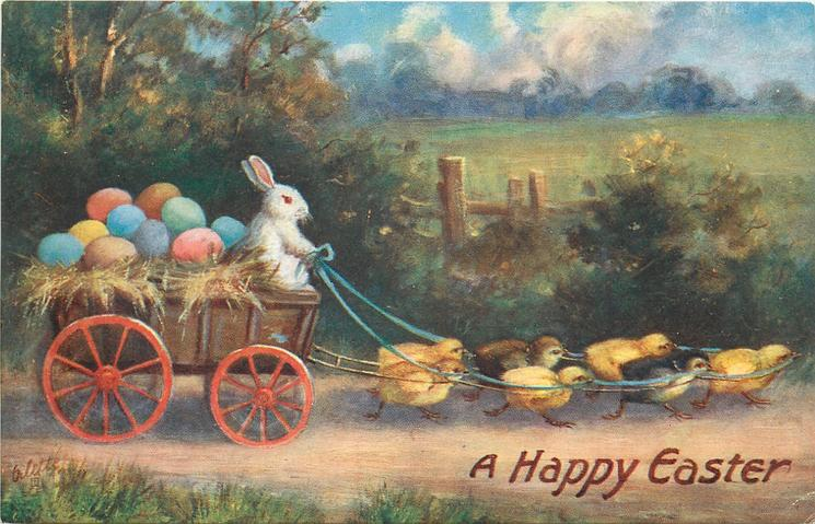 A HAPPY EASTER  rabbit driving cart carrying Easter eggs pulled by chicks