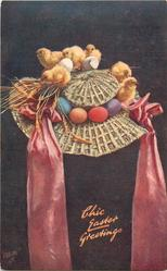 CHIC EASTER GREETINGS  six chicks, four eggs, on wicker bonnet, pink ribbons