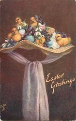 EASTER GREETINGS  five ducklings, eggs, on wicker bonnet, puple scarf