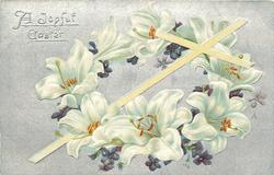 A JOYFUL EASTER  white cross  Easter lilies & violets