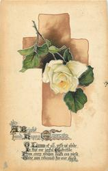 A BRIGHT AND HAPPY EASTER  brown cross, white rose