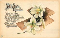 A JOYFUL EASTERTIDE  brown cross, Easter lilies