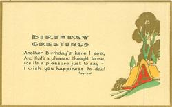BIRTHDAY GREETINGS, house & gilt trees
