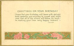 GREETINGS ON YOUR BIRTHDAY gilt & flowers below
