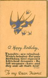 A HAPPY BIRTHDAY TO MY DEAR FRIEND   gilt & blue-birds