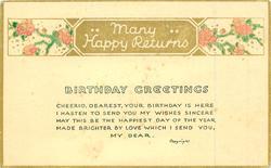 MANY HAPPY RETURNS  BIRTHDAY GREETINGS