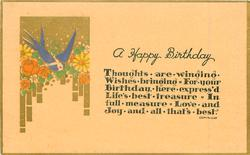A HAPPY BIRTHDAY,  blue-bird, gilt, sun, flowers