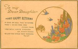 TO MY DEAR DAUGHTER  MANY HAPPY RETURNS   blue-bird, gilt, flowers